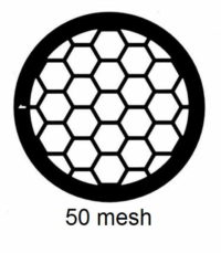 G50HEX-G3, 50 mesh, hexagonal, Au, vial 50