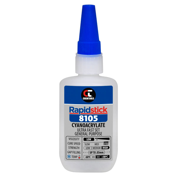 Rapidstick 8105 Cyanoacrylate Adhesive (Ultra Fast Set, General Purpose) - 50g Bottle - 6 pack