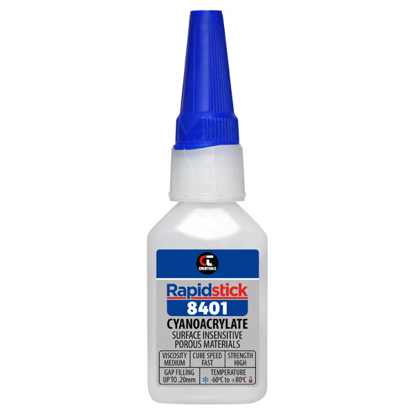 Rapidstick 8401 Cyanoacrylate Adhesive (Surface Insensitive, Porous Materials) - 25ml Bottle - 6 pack