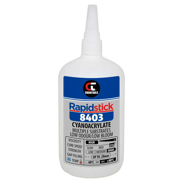 Rapidstick 8403 Cyanoacrylate Adhesive(Multiple Substrates, Low Odour/Low Bloom) - 500g Bottle