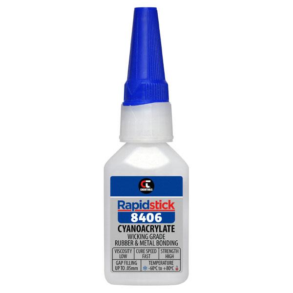 Rapidstick 8406 Cyanoacrylate Adhesive (Wicking Grade, Rubber & Metal Bonding) - 25ml Bottle - 6 pack