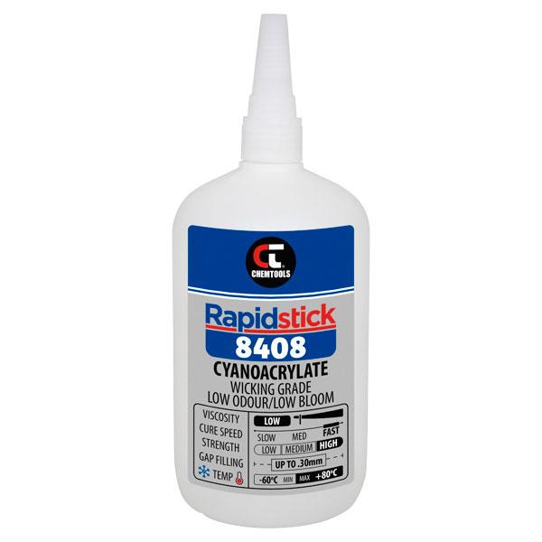 Rapidstick 8408 Cyanoacrylate Adhesive (Wicking Grade, Low Odour/Low Bloom) - 500g Bottle