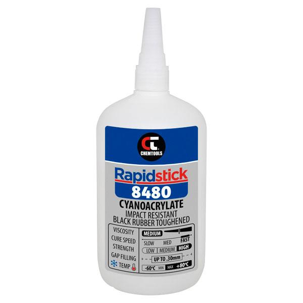Rapidstick 8480 Cyanoacrylate Adhesive (Impact Resistant, Black Rubber Toughened) - 500g Bottle