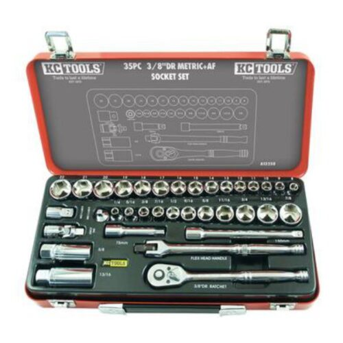 "35 PIECE 3/8"" DRIVE METRIC & AF SOCKET SET A13258"