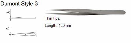 Dumont Tweezers Style 3, 0208-3-PO