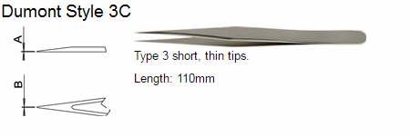 Dumont Tweezers Style 3C, 72680-DZ