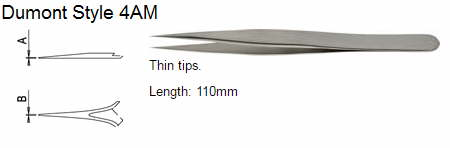 Dumont Tweezers Style 4AM, 5305-4AM-PO
